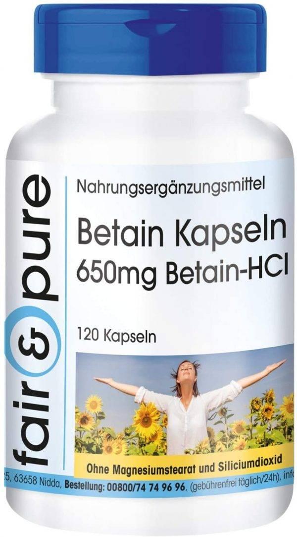 Betain Hidroclorid 650 mg.,120